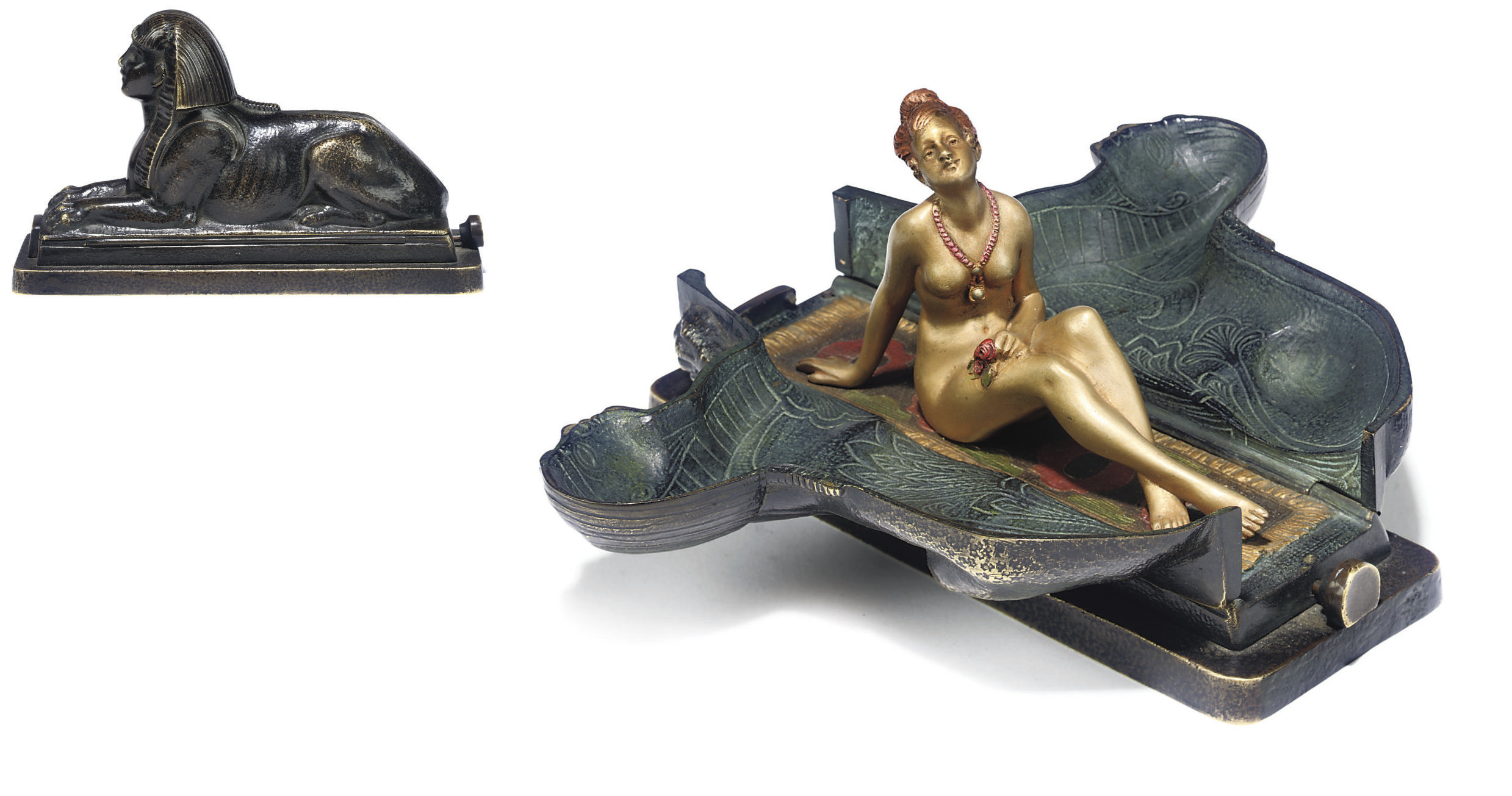 AN AUSTRIAN COLD-PAINTED EROTIC BRONZE GROUP