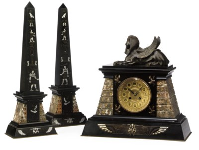A FRENCH MARBLE MANTEL CLOCK A