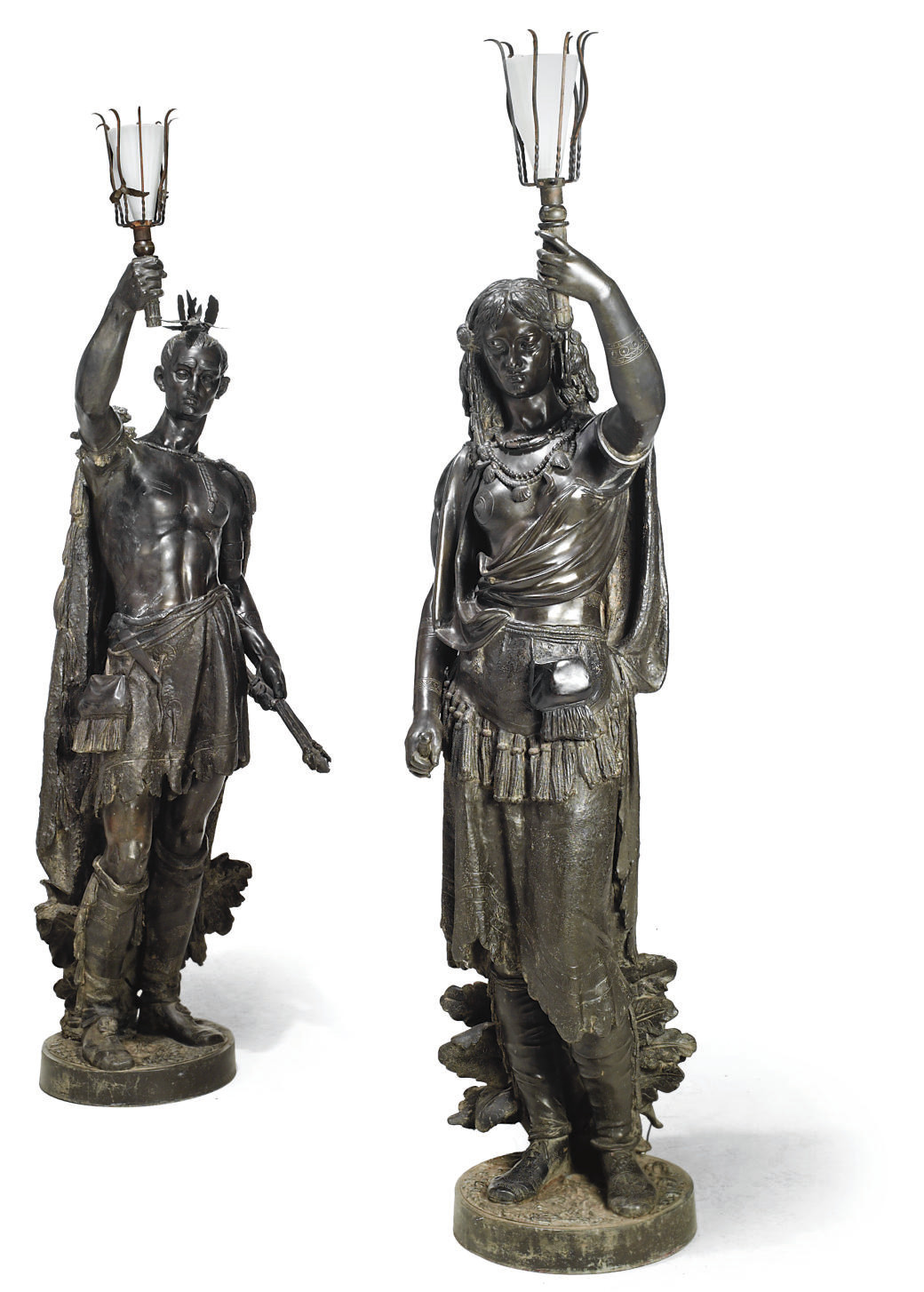 A PAIR OF BRONZE PATINATED SPE