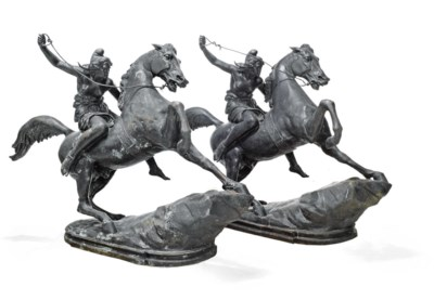 TWO LARGE BRONZE EQUESTRIAN GR