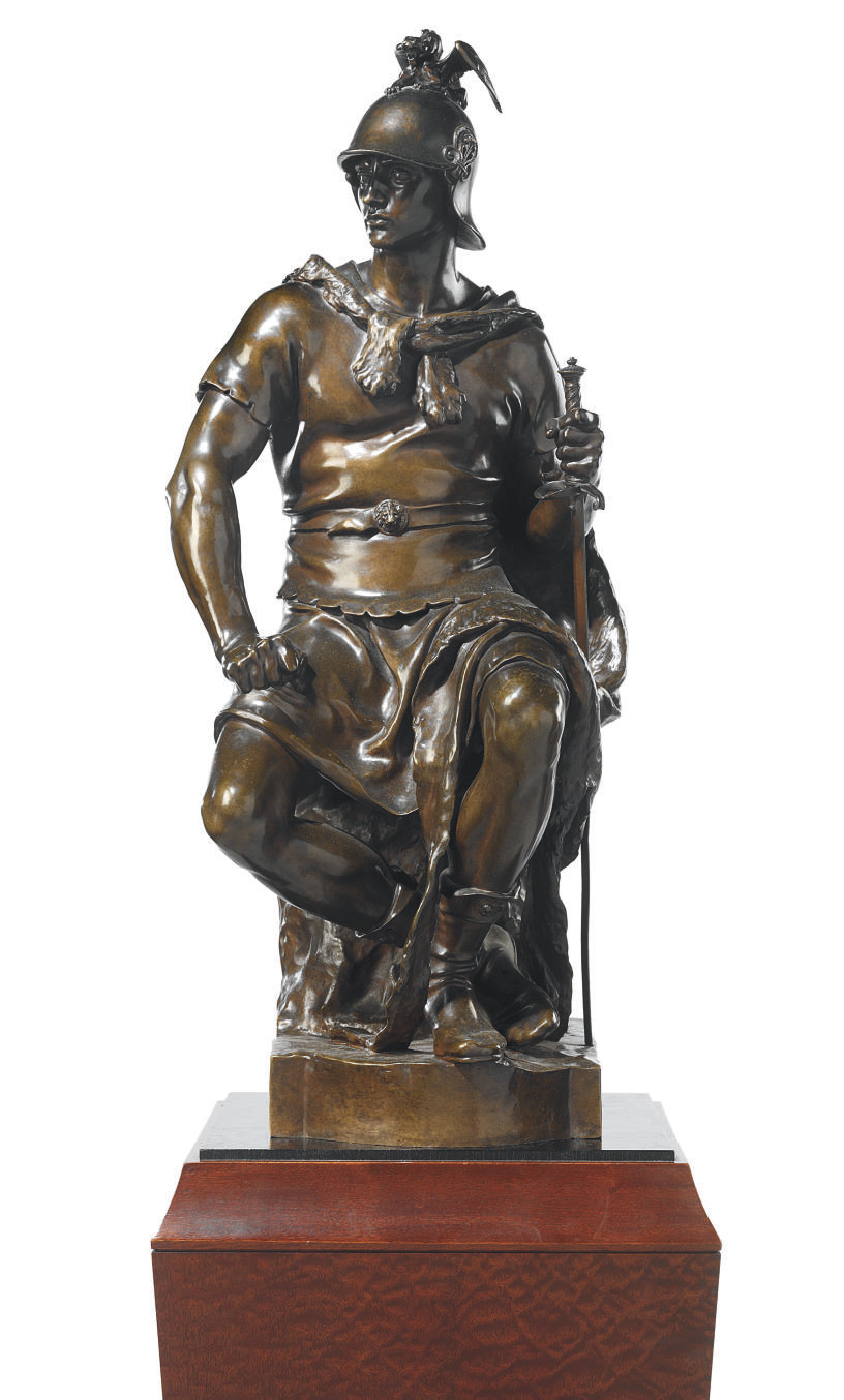 A FRENCH BRONZE ENTITLED 'LE COURAGE MILITAIRE'