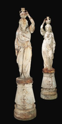 A PAIR OF WHITE PAINTED CAST I