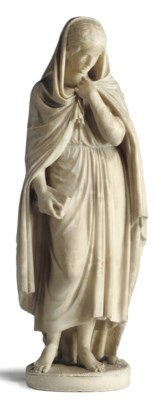 AN ALABASTER MODEL OF A GIRL