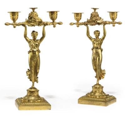 A PAIR OF EMPIRE GILT-BRONZE F