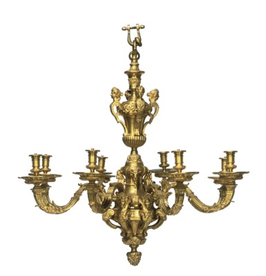 A FRENCH GILT-BRONZE EIGHT-LIG