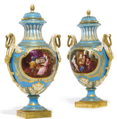 A PAIR OF SEVRES-STYLE 'JEWELL