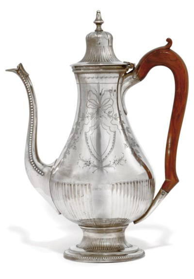A PORTUGESE SILVER COFFEE POT