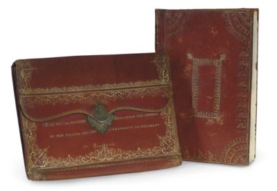 A FRENCH RED MOROCCO BLOTTER A