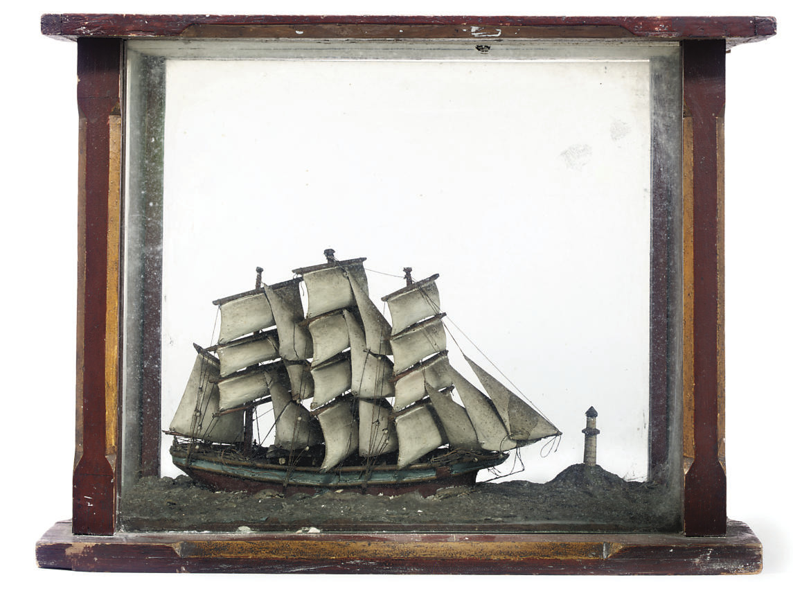 A VICTORIAN WOOD SHIP MODEL IN