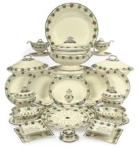 A SHORTHOSE & HEATH CREAMWARE PART DINNER AND DESSERT-SERVICE