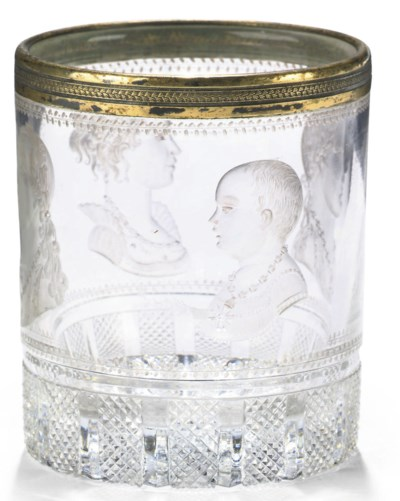 A FRENCH ENGRAVED GLASS TUMBLE