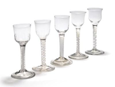 FIVE OPAQUE-TWIST WINE-GLASSES