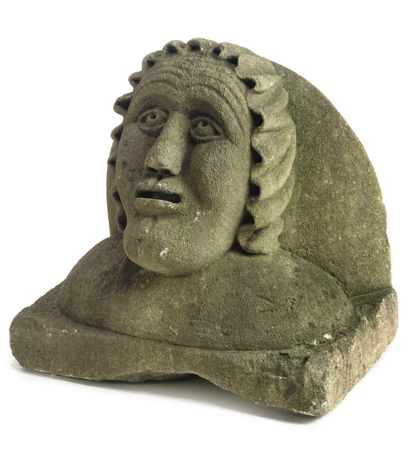 AN ENGLISH NAIVE CARVED STONE
