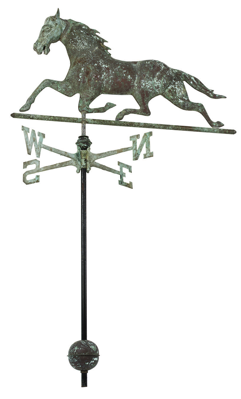 A MOULDED COPPER 'HORSE' WEATH