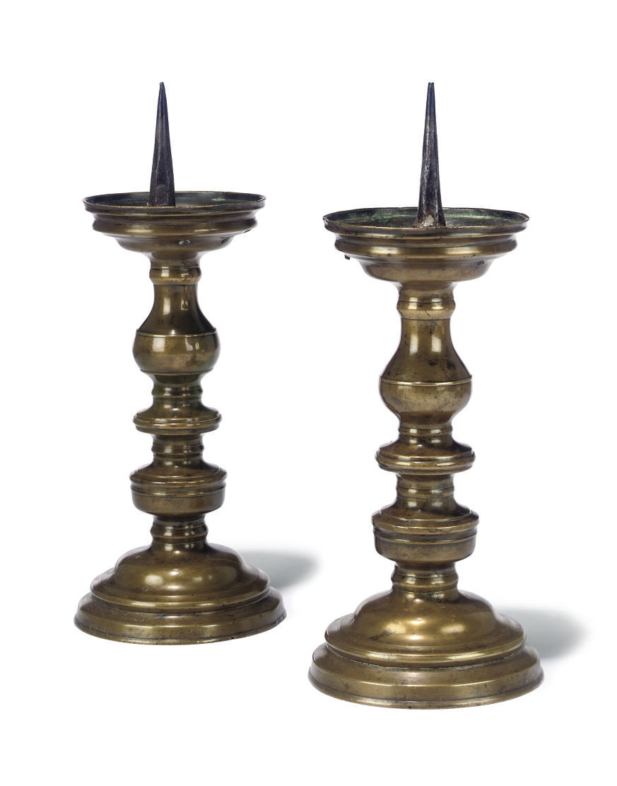 A PAIR OF FLEMISH BRASS PRICKE