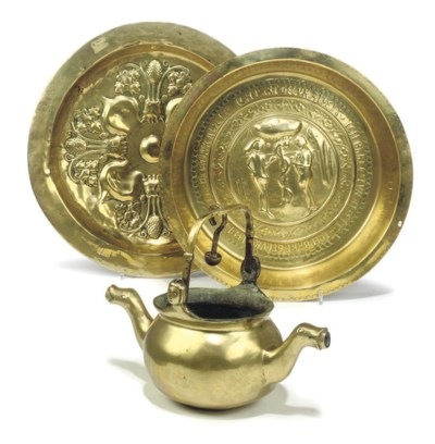 A GERMAN OR DINANT BRASS ALMS