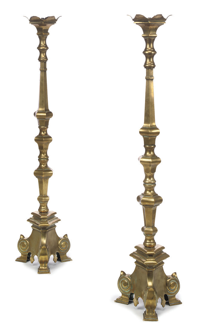 A PAIR OF ITALIAN BRASS ALTARS