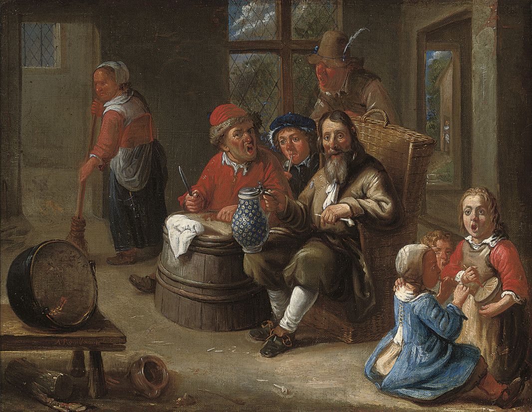 Peasants smoking and drinking with children making music and an old woman in an interior