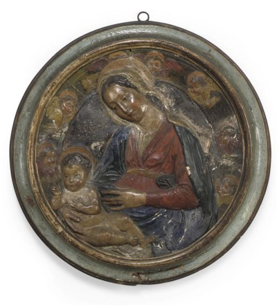 AN ITALIAN PAINTED PLASTER REL