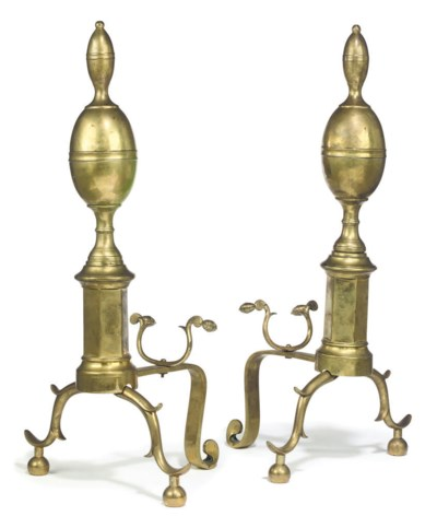 A PAIR OF FEDERAL BRASS ANDIRO