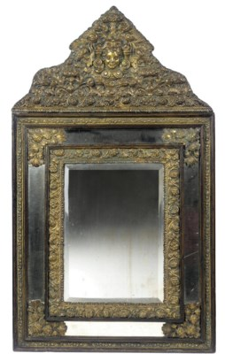 A FLEMISH BRASS-MOUNTED MIRROR