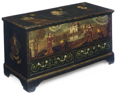 A GEORGE III PAINTED PINE CHES