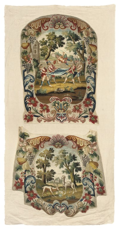 A FINELY EMBROIDERED CHAIR BAC