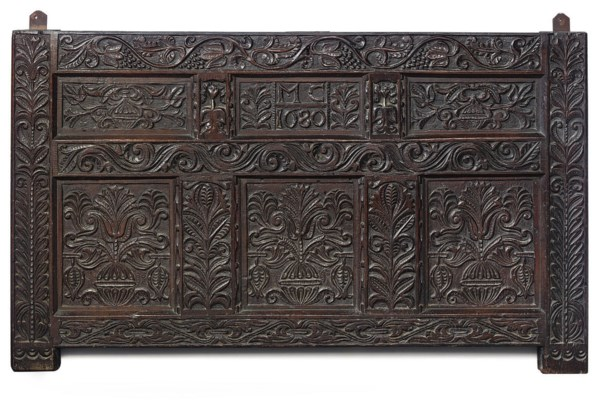 A CHARLES II OAK CHEST-FRONT