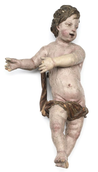A SOUTH GERMAN PAINTED FIGURE