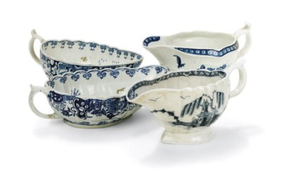 FOUR ENGLISH PORCELAIN BLUE AN