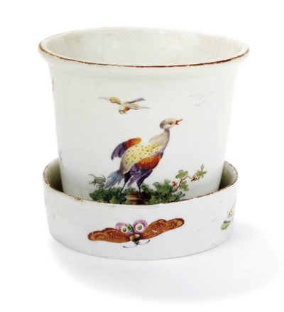 A DERBY JARDINIERE AND A STAND