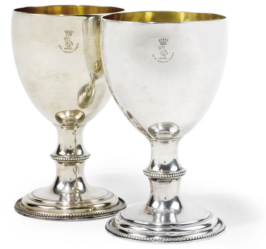 A PAIR OF GEORGE III SCOTTISH SILVER GOBLETS