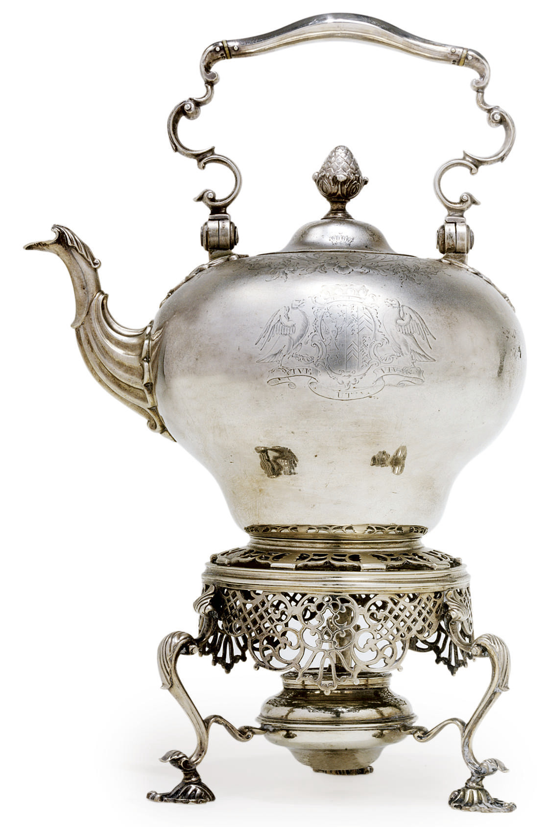 A GEORGE II SILVER TEA KETTLE-ON-STAND