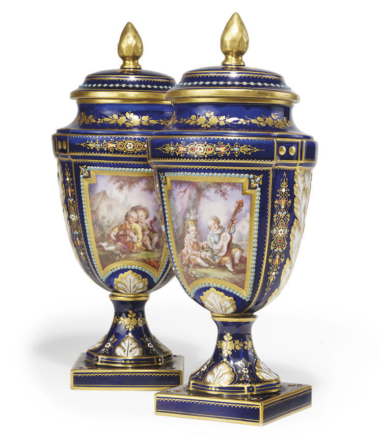 A PAIR OF SEVRES-STYLE BLUE-GR