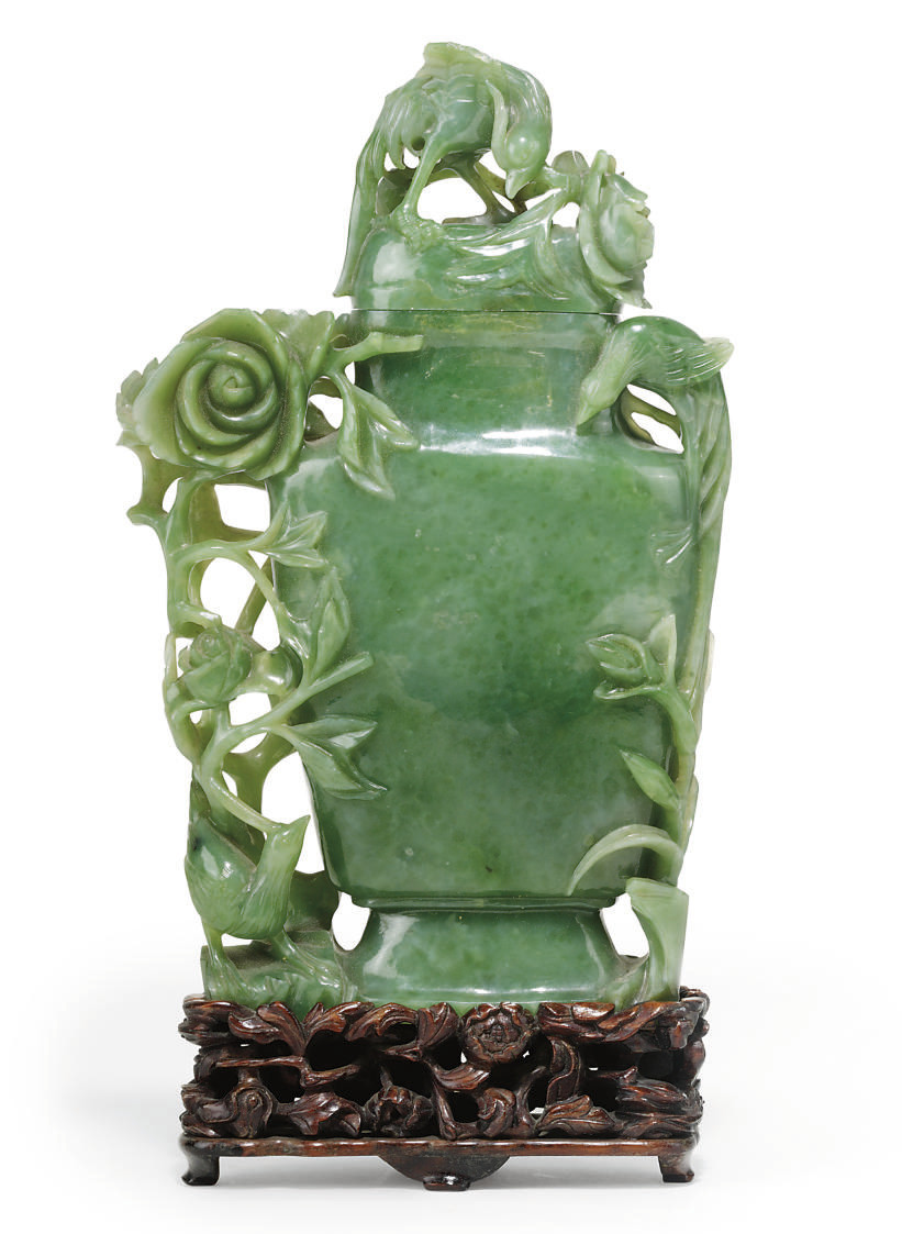 A CHINESE JADE VASE AND COVER