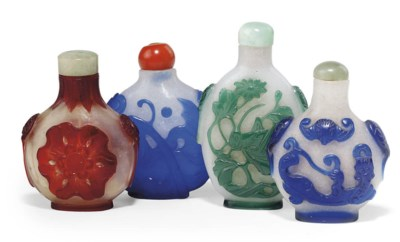A GROUP OF FOUR CHINESE GLASS