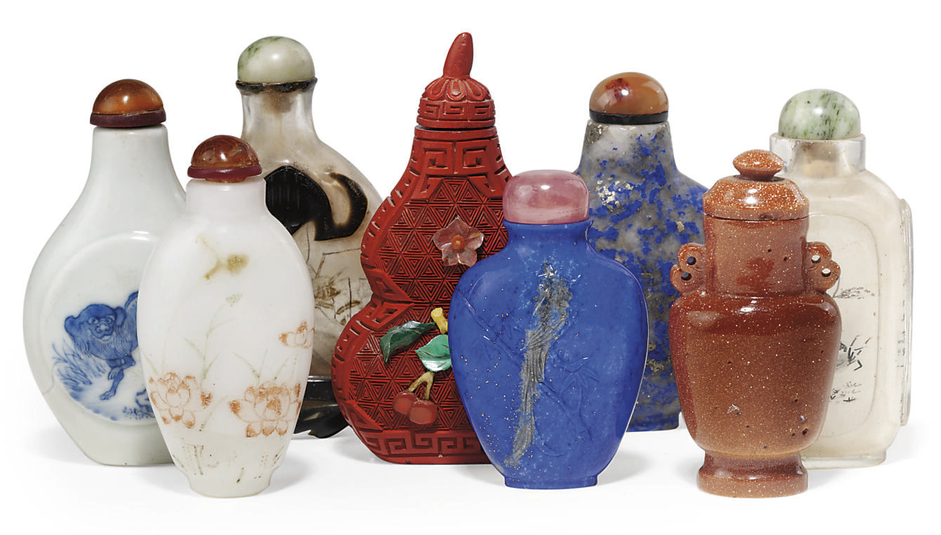 A GROUP OF EIGHT SNUFF BOTTLES