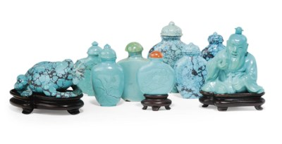 A GROUP OF NINE TURQUOISE SNUF