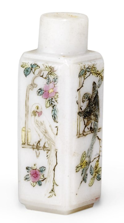 A CHINESE ENAMELLED WHITE GLAS