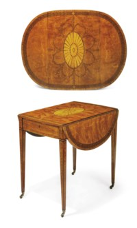 A GEORGE III SATINWOOD, AMARANTH AND HAREWOOD MARQUETRY OVAL PEMBROKE TABLE