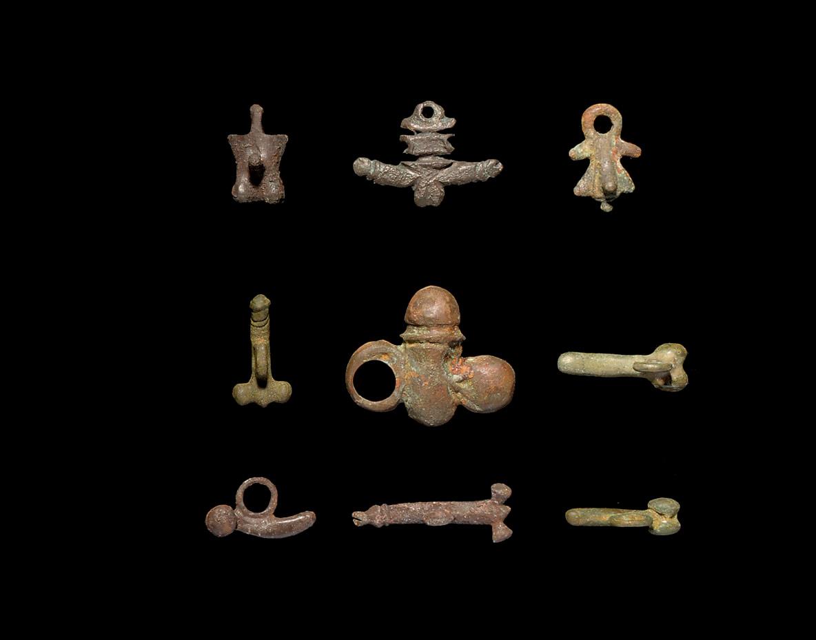 A Group Of Roman Bronze Phallic Amulets Mainly 1st 2nd