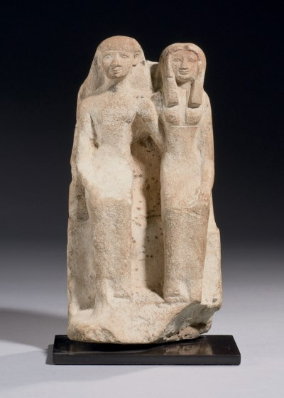 AN EGYPTIAN LIMESTONE PAIR STA