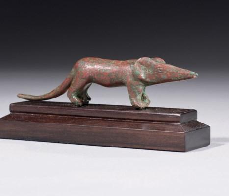 AN EGYPTIAN BRONZE SHREW
