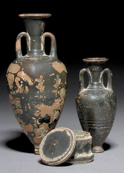 AN ATTIC BLACK GLAZED POTTERY