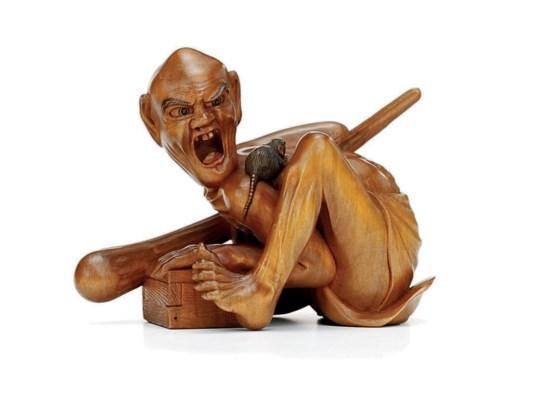 A Wood Okimono [Sculptural Orn