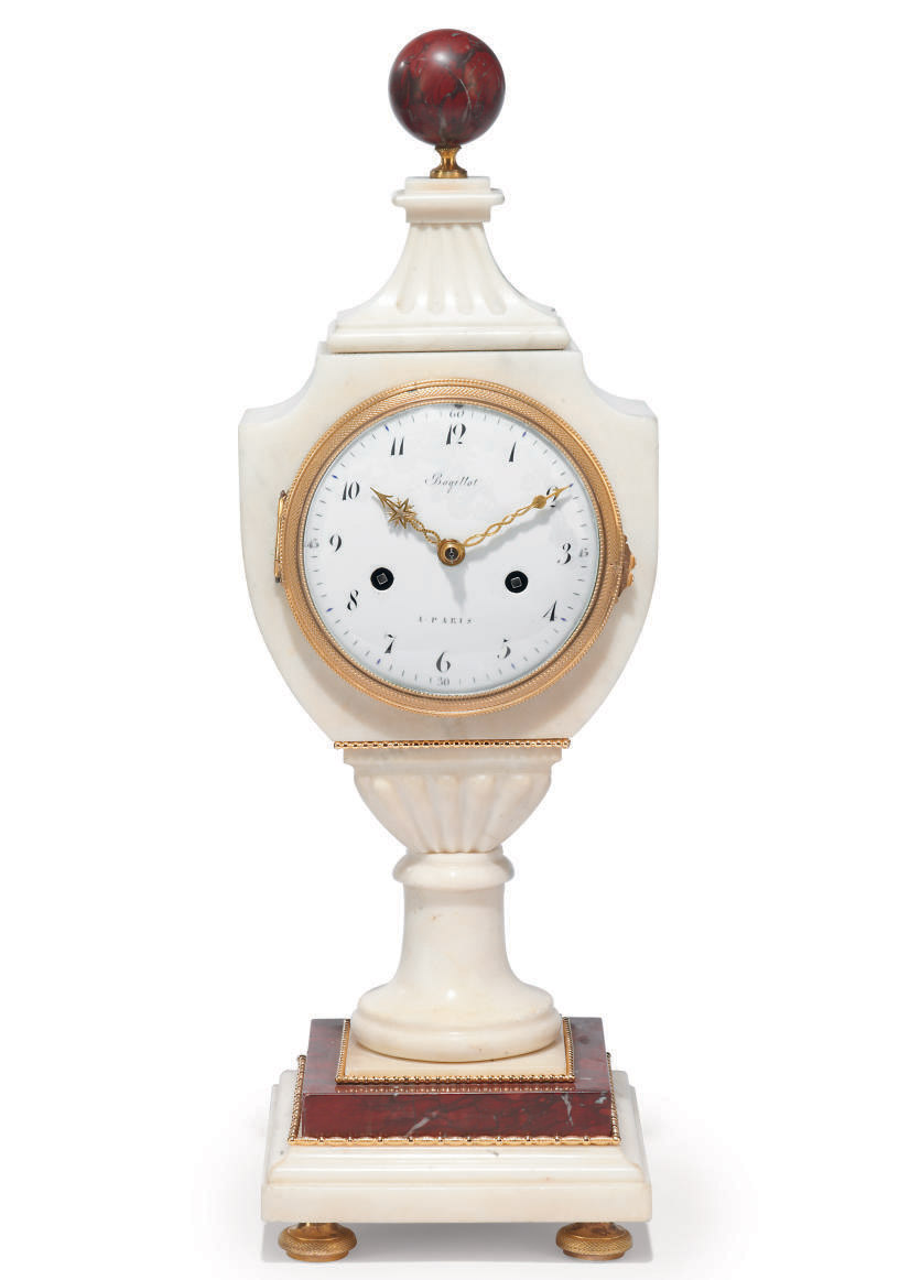 A FRENCH MARBLE MANTEL CLOCK