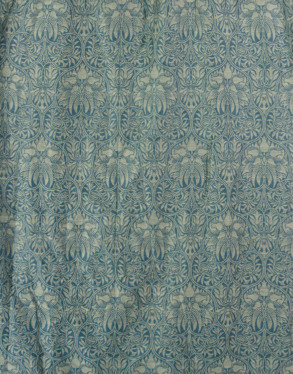 FOUR WOOL DAMASK CURTAINS