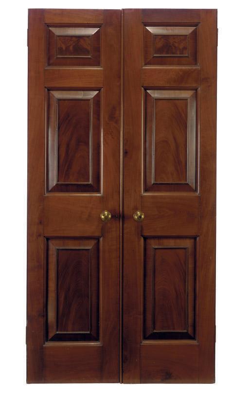 A DOUBLE MAHOGANY DOOR