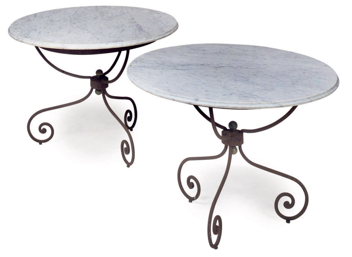 A PAIR OF WROUGHT-IRON BRASS A