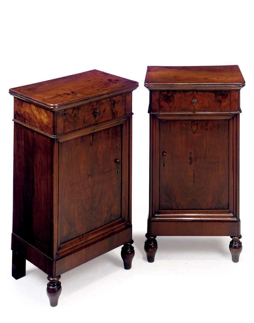 A PAIR OF FRENCH WALNUT BEDSID